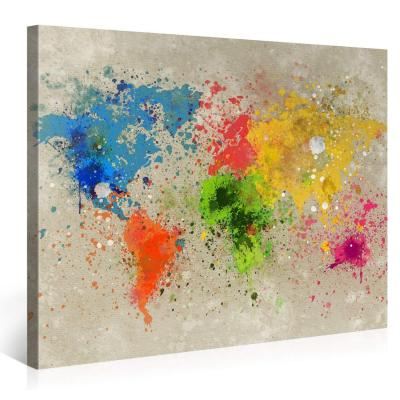 Gallery of Innovative Art  Mappa Del Mondo Acqua Colore Explosion  100x75cm  Larga stampa su tela